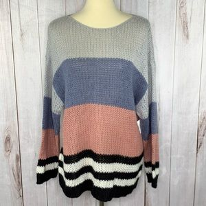 Lucky Brand Chunky Striped Boho Sweater XL